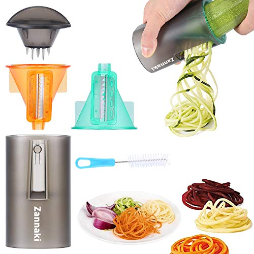 2 Pack Ultimate 8/18 Stainless Steel Blades Compact Handheld Spiral Slicer,Easy-Use Vegetable Spiral Slicer,Best Veggie Zucchini Pasta Spaghetti Maker On Raw Food/Low Carb/Gluten Free/No Wheat/Diet by Zannaki