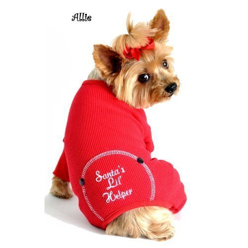 (DOGGIE DESIGN Santa's Lil Helper Embroidered Pajamas for Dogs, Large )