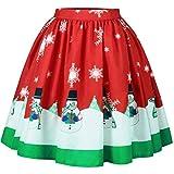 Slim Bloom Women's Christmas Santa Xmas Print Holiday Season Mini Flared Skater Skirt Red S