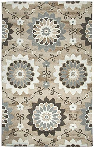 Gatney Rugs Village Area Rug SK250A Beige Circles Flowers 5' x 8' Rectangle