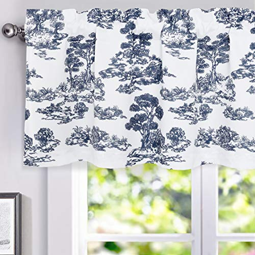(DriftAway Lola Toile Sketch Forest Tree Botanical Lined Thermal Insulated Energy Saving Window Curtain Valance for Living Room, Bedroom, Kitchen, 2 Layers, Rod Pocket, 52