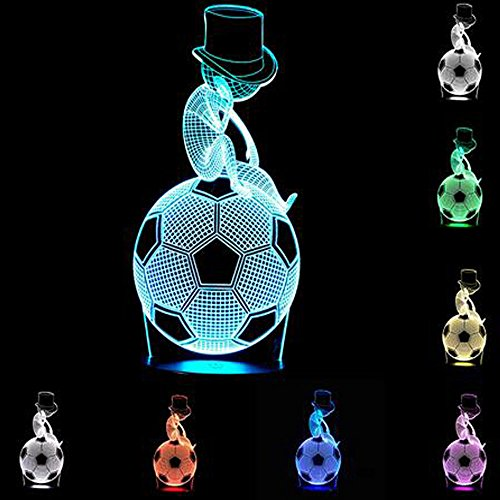 YANGHX 3D Illusion Football Thinker Cool Boy Halloween Optical Illusion LED USB Table Night Light Remote Desk Lamp Lighting for Halloween Decorations (Halloween Optical Illusions)