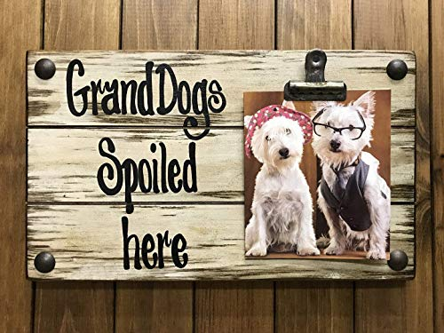 - PHOTO HOLDER Grand Dogs Spoiled Here Picture Wall Frame Memo Board Reclaimed Sign with Clip Cream Wood Wedding Anniversary Gift for bride groom baby Home *Grandma *I'll Love You Forever *Grandkids