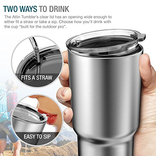 Atlin Tumbler [30 oz. Double Wall Stainless Steel Vacuum Insulation] Travel Mug [Crystal Clear Lid] Water Coffee Cup [Straw Included]For Home,Office,School - Works Great for Ice Drink, Hot Beverage by Atlin Sports (Image #2)