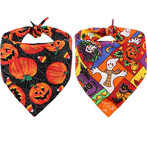 Boxer Halloween Costume For Dog (KZHAREEN 2 PCS/Pack Halloween Dog Bandana Pumpkin Reversible Triangle Bibs Scarf Accessories for Dogs Cats Pets)