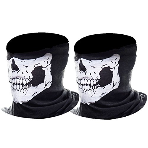 eBoot Half Skull Face Mask Motorcycle Face Mask Bandana Balaclava Headwear, 2 Pack (White) (Kids Biker Costume)