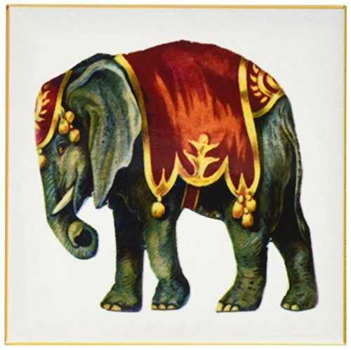 3dRose cst_39610_3 Framed Victorian Circus Elephant-Ceramic Tile Coasters, Set of 4 (Ceramic Tile Victorian)