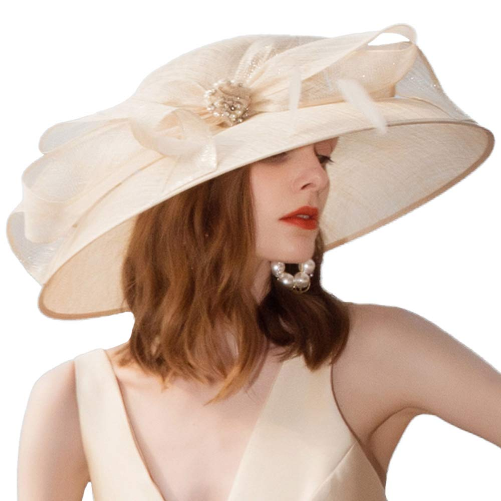 F FADVES Large Wide Brim Sinamay Weeding Party Derby Wear Facsinators Occasion Hat Champagne