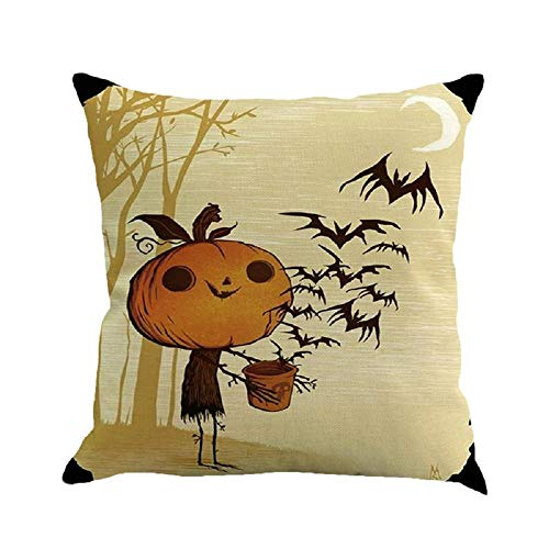 HGWXX7 Halloween Throw Pillow Covers Classic Linen Cushion Cover for Sofa Bedroom Car Home Decor Many Color & Size Options(B)