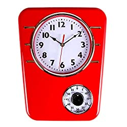 Retro Kitchen Clock With Timer. By Lily's Home (Red)