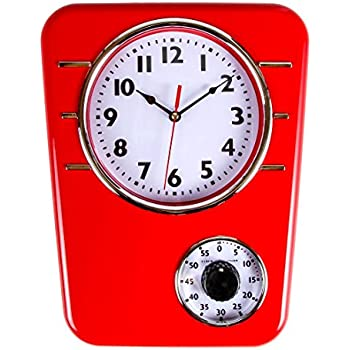 Retro Kitchen Clock With Timer. By Lilyu0027s Home (Red)