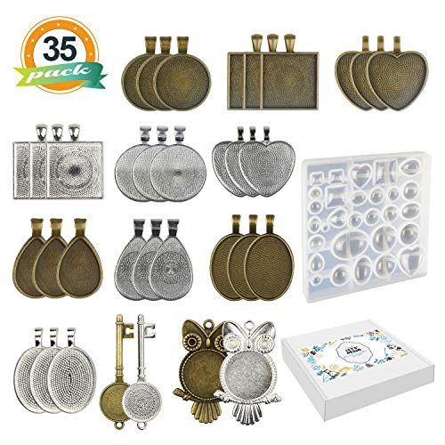 LET'S RESIN 34 Pcs Pendant Trays 7 Styles-Round & Square & Heart & Teardrop & Oval & Key & Owl and 1 Set Silicone Resin Jewelry Casting Molds for Pendant Crafting DIY Jewelry Gift Making -