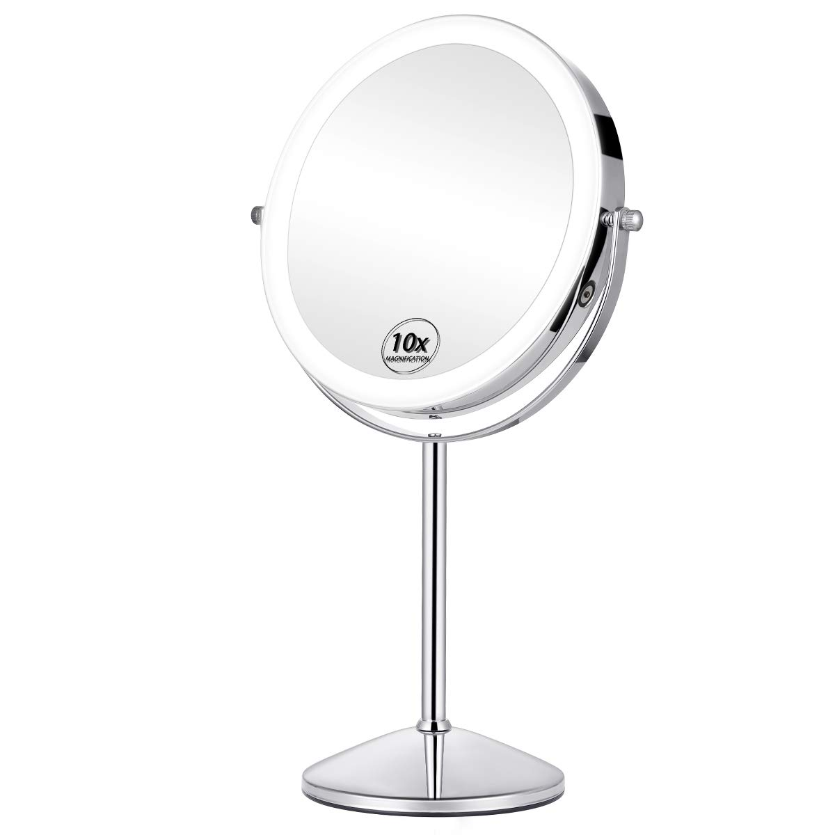 KEDSUM Rechargeable 8 Inch 1X/10X Lighted Magnifying Makeup Mirror with 3 Lighting Modes, Double Sided Magnification Vanity Mirror with Lights, Cordless Tabletop Mirror, Touch Button