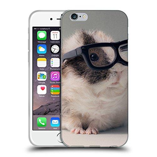 """Just Phone Cases Coque de Protection TPU Silicone Case pour // V00004138 Mignon cochon Guinée aux lunettes // Apple iPhone 6 4.7"""""""