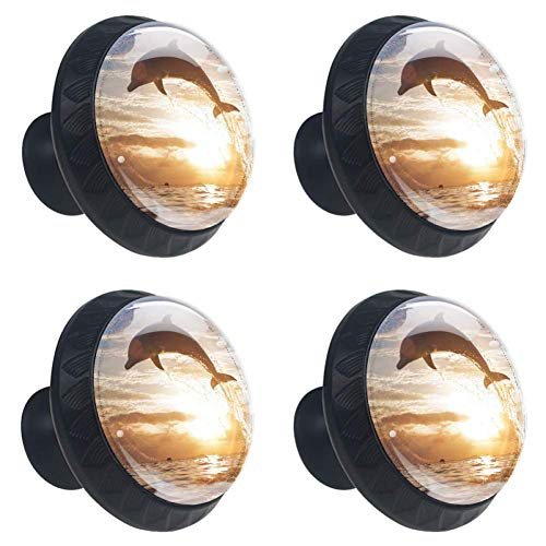 Anmarco Ocean Sunset Jumping Dolphin Drawer Knobs Pull Handles 30MM 4 Pcs Glass Cabinet Drawer Pulls for Home Kitchen Cupboard