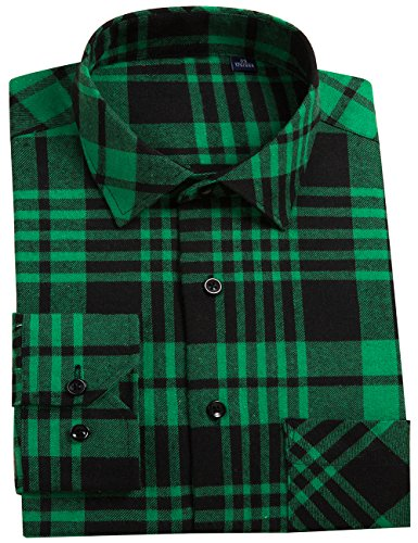 DOKKIA Men's Dress Buffalo Plaid Checkered Fitted Long Sleeve Flannel Shirts (Green Black Gingham, Small)