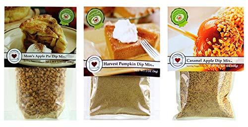 Sweet Dip Mix Dessert Trio - CARAMEL APPLE, MOM'S APPLE PIE, HARVEST PUMPKIN - Three luscious autumn/fall ()