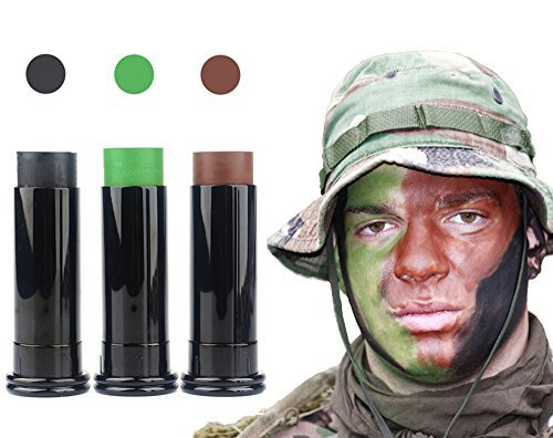 3PC Camo Face Paint Sticks - Keep Stayed On & Easy to Clean Up - Shadow Black / Hunter Green / Earth Brown ()
