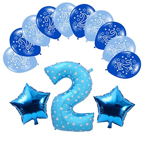 Yalulu 13pcs Boy Girl Happy Birthday Foil Latex Balloons Set, 1st/2nd Birthday for Baby Boy Girl Happy Birthday Party Decoration Kids (2 Blue)]()