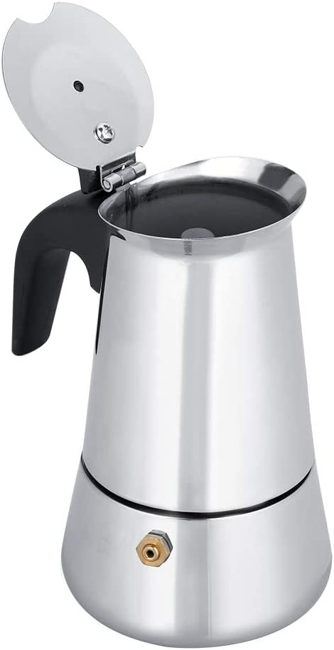 Portable Stainless Steel Coffee Pot Moka Espresso Maker Mocha Pot Ideal for Home Camping /& Travel 300ml