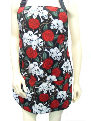 US Handmande SKULLS RED ROSES TATTOOS RO - Reversible Apron Pattern Shopping Results