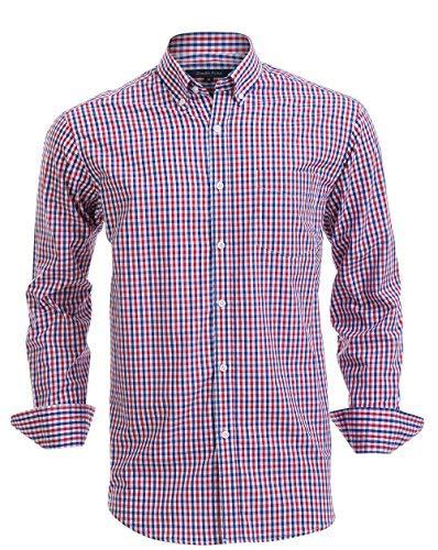 Double Pump Mens Button Down Shirts 100% Cotton Long Sleeve Shirts Regular Fit (SL07A,M)
