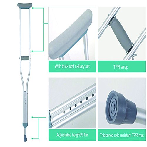 XIHAA Thick Tube Adjustable Aluminum Alloy Medical Crutch, With Comfortable Underarm Pad And Handgrip Silver -M(1 Pair) by XIHAA (Image #3)
