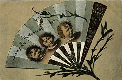 Sonnenschein, Veranderlich, Regen Fans Original Vintage Postcard