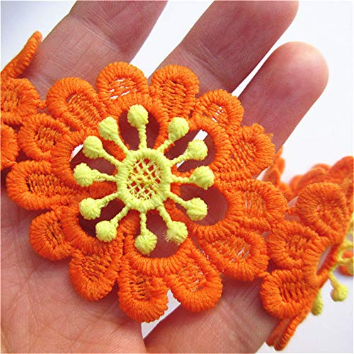 Qiuda 10pcs Flower Lace Edge Trim Ribbon Cotton Crochet with Colored Daisy Floral 5cm/ 2inches Width Vintage Style White Edging Trimmings Fabric Embroidered Applique Sewing Craft Dress Decor (Orange)