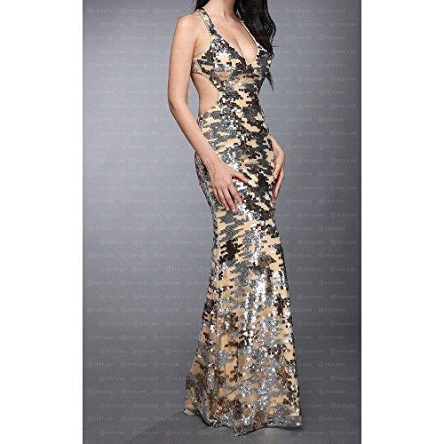 Design Festamo Gold Ball Ital Maxi Für bei Kleid Damen SSO0qw