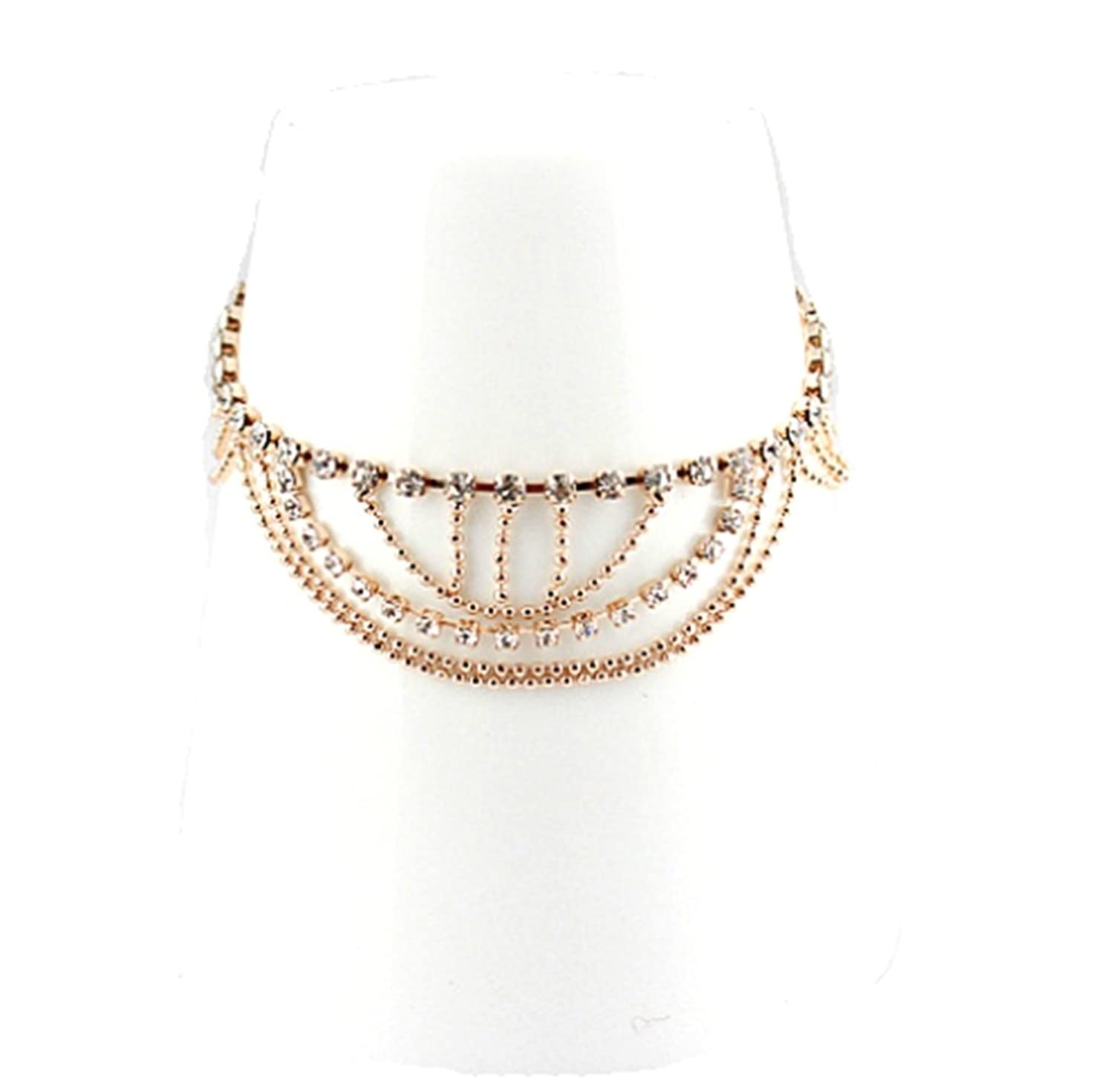 JY Jewelry Gold Tone Metal wave chain with full design Rhinestone Anklet