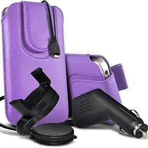Nokia Lumia 700 premium protección PU botón magnético ficha de extracción Slip espinal en bolsa de la cubierta de piel de bolsillo rápido con 12v USB Micro Cargador para el coche y 360 Sostenedor giratorio del parabrisas del coche cuna Purple por Spyrox