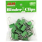 JAM Paper® Binder Clips - Small (3/4 inch / 19 mm) - Green - 25 Clips per Pack