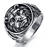 HAMANY Jewelry Men's Stainless Steel Ring Lion Head Shield Biker Vintage
