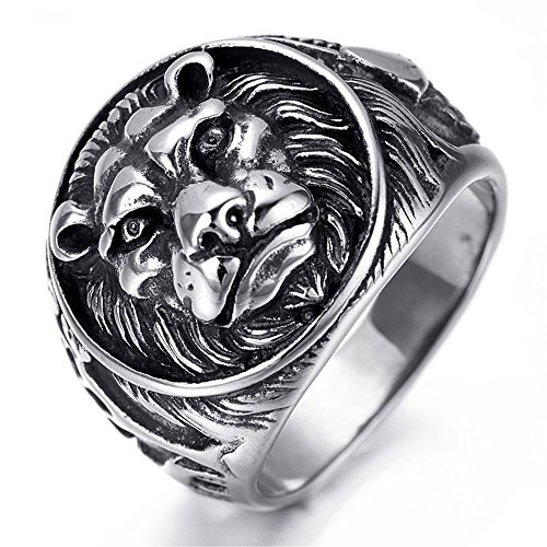 HAMANY Jewelry Mens Stainless Steel Ring Lion Head Shield Biker Vintage