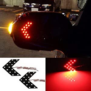 iJDMTOY Pair 14-SMD Arrow Shape LED Circuit Board Panels For Behind The Side Mirror Turn Signal Retrofit, Brilliant Red