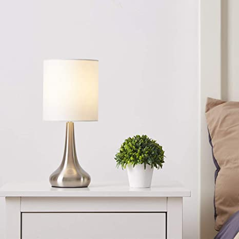 FERWVEW Modern Style Living Room Bedroom Bedside Table Lamp(Bulb Not  Included), Desk lamp with White Fabric Drumshade Small Table Lamps  Nightstand ...