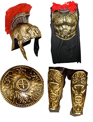 [Roman Gladiator Armor Spartan Greek Warrior Gold Helmet 5Pc Set Shield Costume] (Mens Trojan Costume)