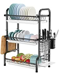 Dish Drying Rack, Warmfill 3 Tier Dish Rack Stainless Steel Large Capacity with Utensil Holder, Cutting Board Holder and Dish Drainer for Kitchen Counter,Black