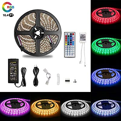 WinFong LED Strip Lights,16.4ft/5m 300 LED Dimmable Multicolored Lights Kit, 5050RGB, 12V 5A Power IP65 Waterproof with 44Key Remote Controller for Home,Kitchen,Cabinet Decoration