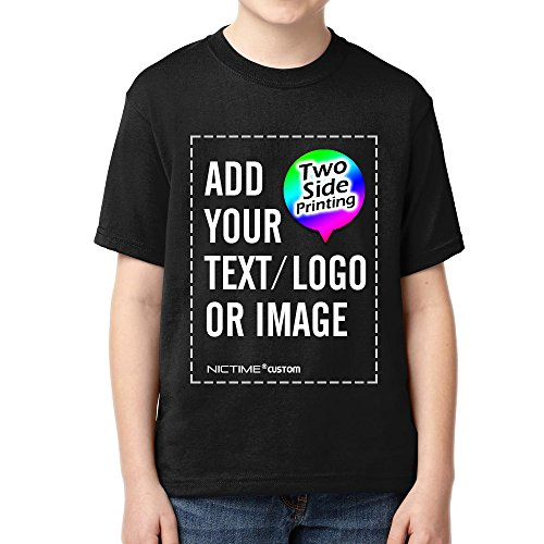NICTIME Custom T shirts For Boys Girls Design Your Own Front And Back Kid's Tee Black L