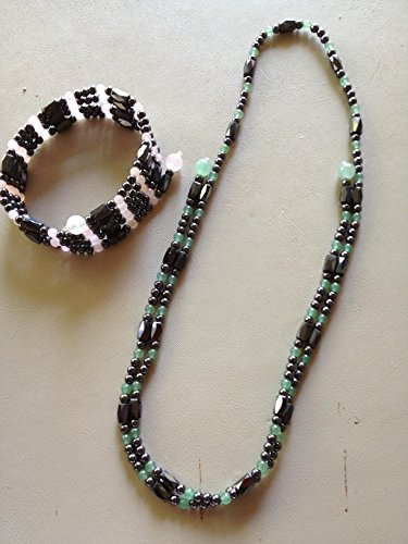 healing magnetic hematite and green aventurine gemstone 34 inch wrap (Hematite Round Anklet)