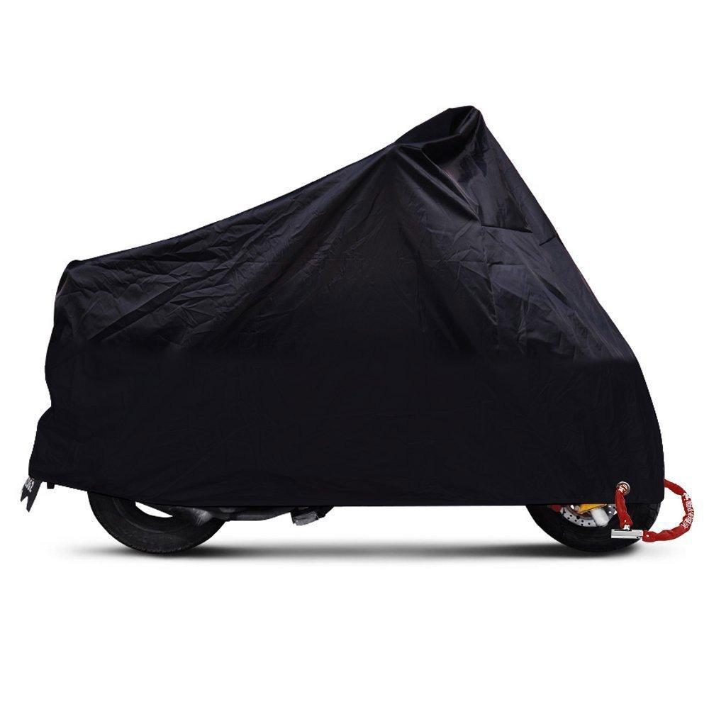ANFTOP Motorrad Abdeckung Motorrad Garage Scooter Abdeckplane Schwarz Farbe Lock L/öcher Wasserdicht UV Schutz Schutzh/ülle Tasche XL