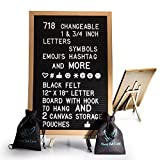 Black Felt Letter Board With Easel Stand 12 x 18 | 718 Changeable Characters Including 1 inch and ¾ Letters, Symbols, Emojis Hashtag And More | Hook To Hang | 2 Canvas Storage Pouches
