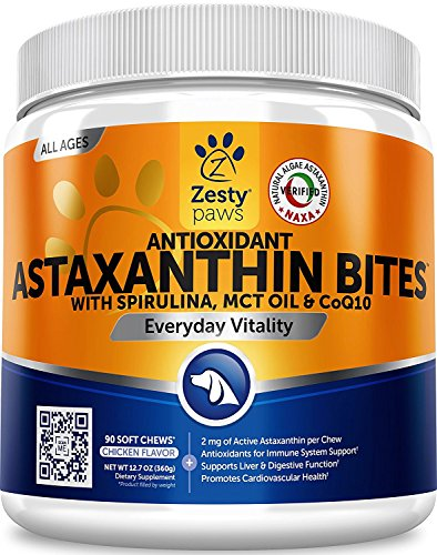 Zesty Paws Antioxidant Astaxanthin for Dogs - Immune, Hip & Joint, Cardiovascular & Digestive Support Supplement - With CoQ10 & Organic Spirulina + Coconut MCT Oil & Vitamins E and B12