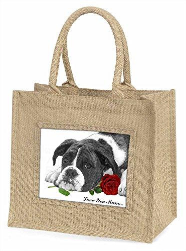 Advanta Boxer Hund schwarz und weiß Love You Mum Große Einkaufstasche/Weihnachten Geschenk, Jute, beige/natur, 42x 34,5x 2cm
