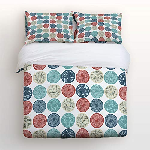 Geometric Clipart - Art Decor Home Abstract Colorful Tree Ring Geometric Clipart 4 Piece Duvet Cover Bedding Sets 100% Polyester Fiber Comfortable Breathable Soft Material for Childrens/Kids/Teens/Adults Full