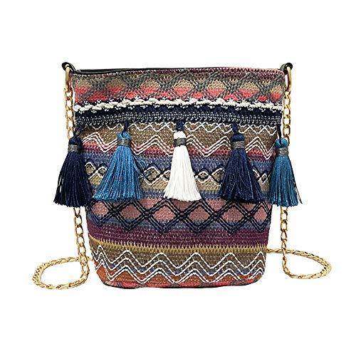 Womens Retro Weaving Tassel Shoulder Bag Messenger Handbags Crossbody Bags Straw