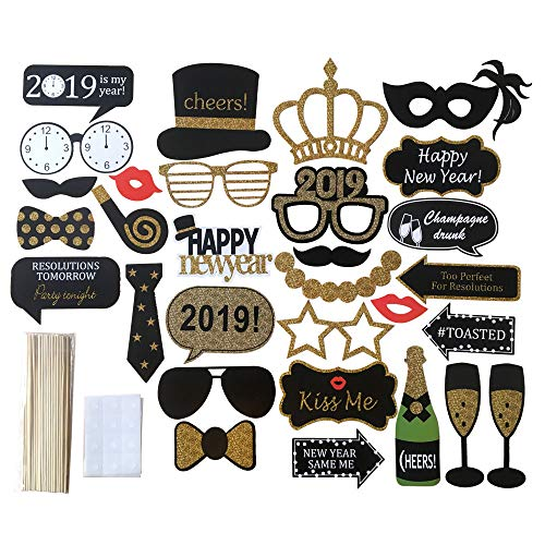 2019 Photo Booth Props Kit,30 Pcs Printed wooden Sticks Novelty Dress Up Accessories DIY Wedding,Birthday,Holiday Party Supplies Decorations