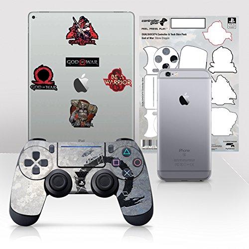 Controller Gear Con licencia oficial God of War Dualshock 4 Wireless Controller y Tech Skin Set Stone Dragon - PlayStation 4